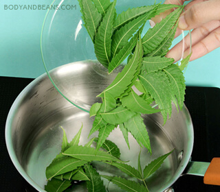 Rinsing with neem infused water