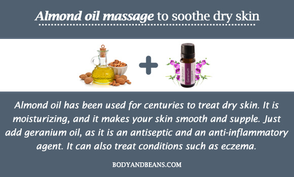 Almond oil massage to soothe dry skin
