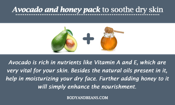 Avocado and honey pack to soothe dry skin