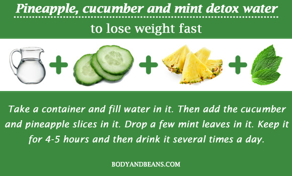 Pineapple, cucumber and mint detox water to lose weight fast