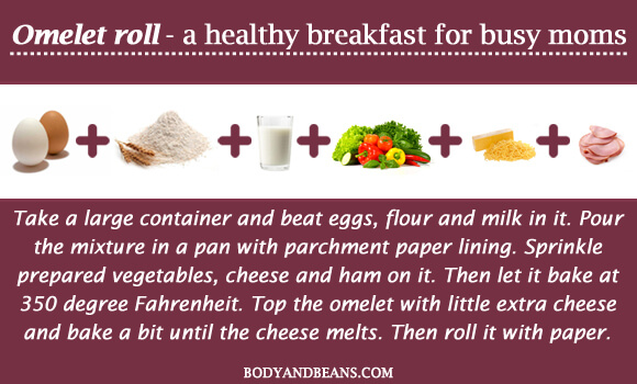 Omelet roll - a healthy breakfast for busy moms