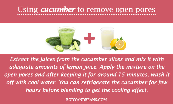 Using cucumber to remove open pores
