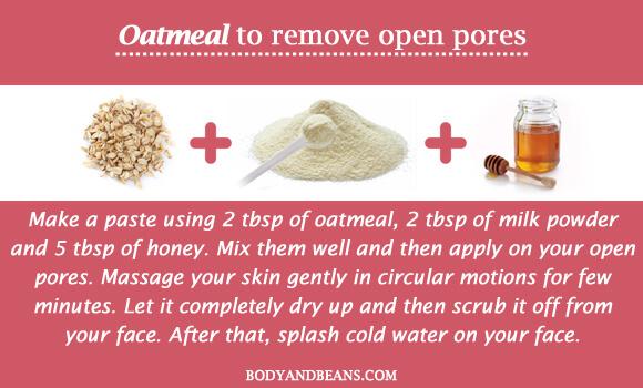 Oatmeal to remove open pores