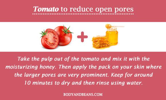 Tomato to reduce open pores