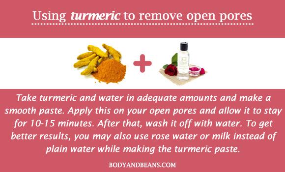 Using turmeric to remove open pores