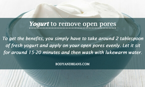 Yogurt to remove open pores