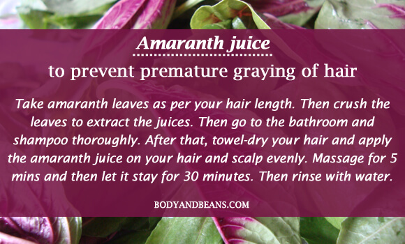 Amaranth juice to prevent premature graying of hair