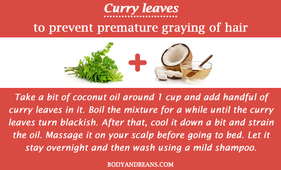 Curry leaves to prevent premature graying of hair