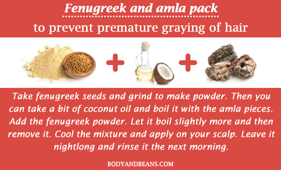 Fenugreek and amla pack to prevent graying of hair