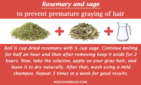 Rosemary and sage to prevent premature graying of hair