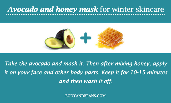Avocado and honey mask for winter skincare