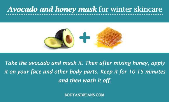 Avocado and honey mask for winter skincare