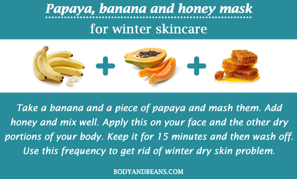 Papaya, banana and honey mask for winter skincare