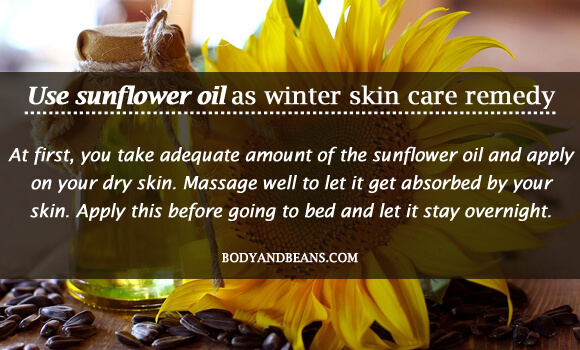 Use sunflower oil as winter skin care remedy