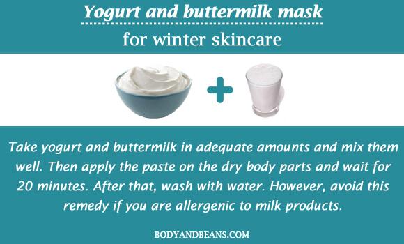 Yogurt and buttermilk mask for winter skincare