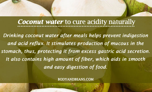 Coconut water to cure acidity naturally