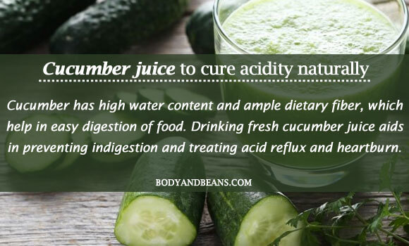 Cucumber juice to cure acidity naturally