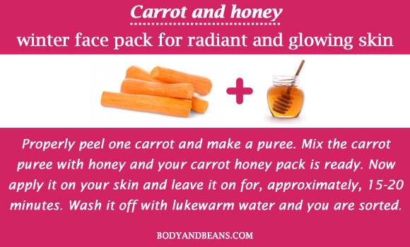 Carrot and honey winter special face packs for radiant and glowing skin