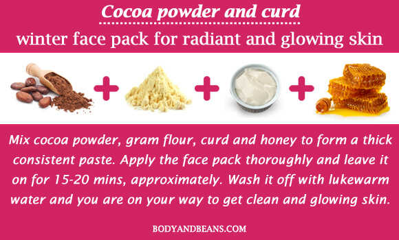 Cocoa powder and curd winter special face packs for radiant and glowing skin
