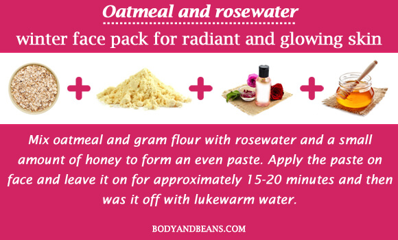 Oatmeal and rosewater winter special face packs for radiant and glowing skin