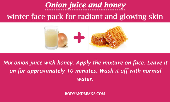 Onion juice and honey winter special face packs for radiant and glowing skin