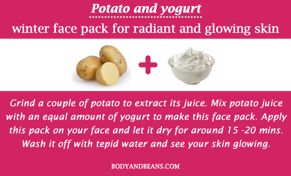 Potato and yogurt winter special face packs for radiant and glowing skin