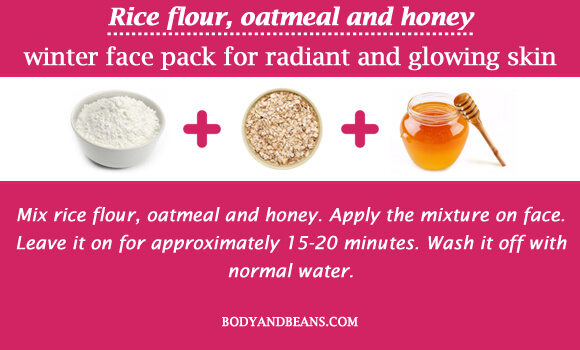 Rice flour, oatmeal and honey winter special face packs for radiant and glowing skin