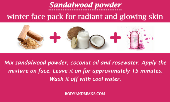 Sandalwood powder winter special face packs for radiant and glowing skin