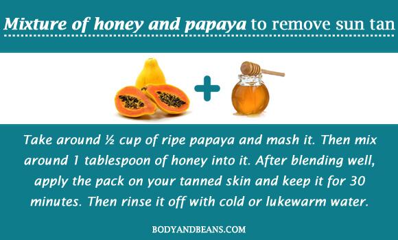 Mixture of honey and papaya to remove sun tan