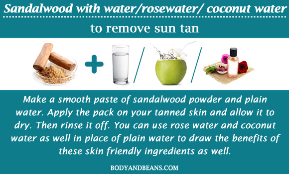 Sandalwood with water/rosewater/ coconut water to remove sun tan