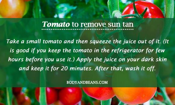 Tomato to remove sun tan
