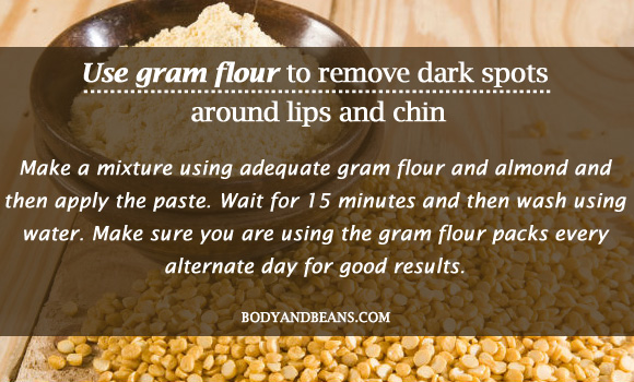 Use gram flour to remove dark spots