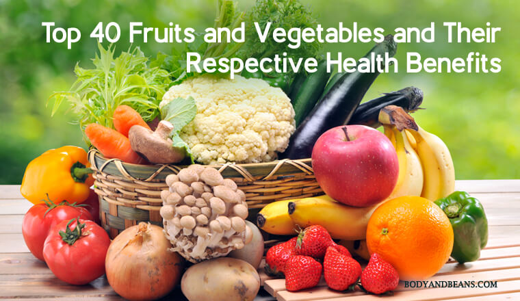 List of Top 40 Fruits and Vegetables With Their Respective Health Benefits