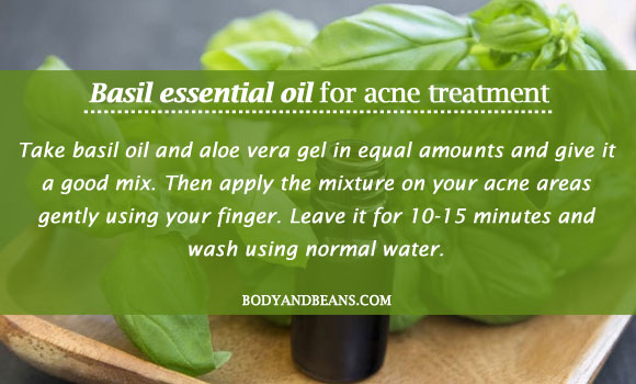 Basil essential oil for acne treatment