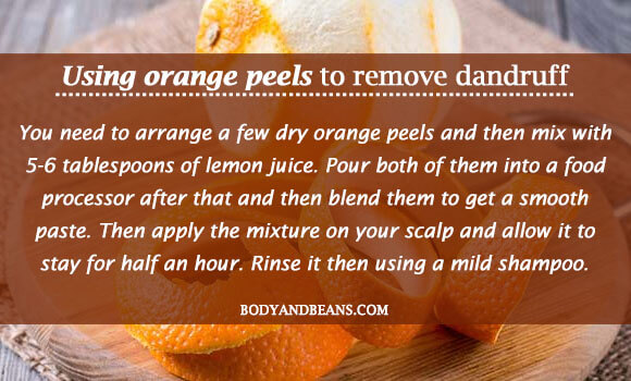 Using orange peels to remove dandruff