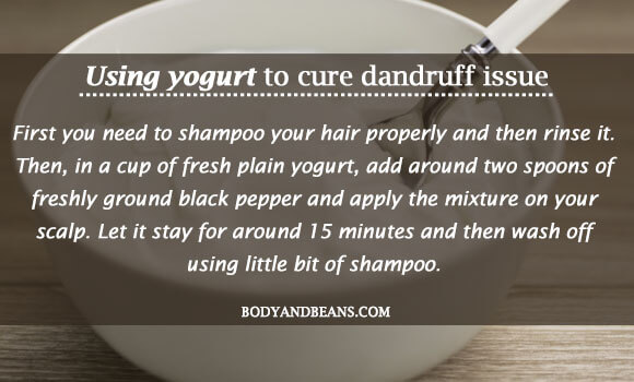 Using yogurt to cure dandruff issue