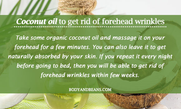 Coconut oil to get rid of forehead wrinkles