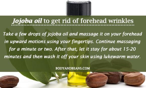 Jojoba oil to get rid of forehead wrinkles